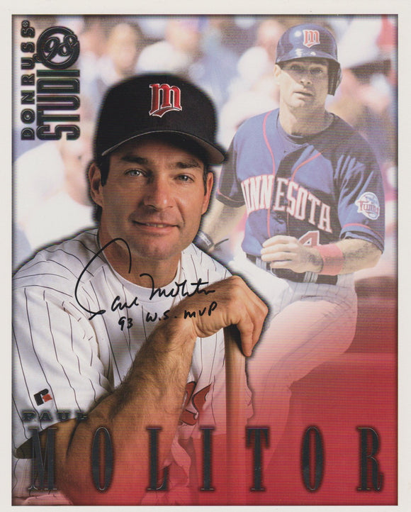 Paul Molitor Signed Autographed 1998 Donruss Studio 8x10 Photo - COA Matching Holograms