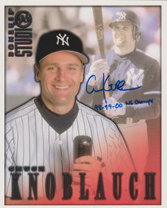 Chuck Knoblauch Signed Autographed 1998 Donruss Studio 8x10 Photo - COA Matching Holograms