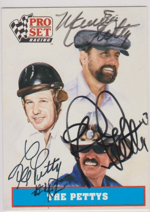 Maurice, Lee & Richard Petty Signed Autographed 1991 Pro Set NASCAR Racing Card - COA Matching Holograms