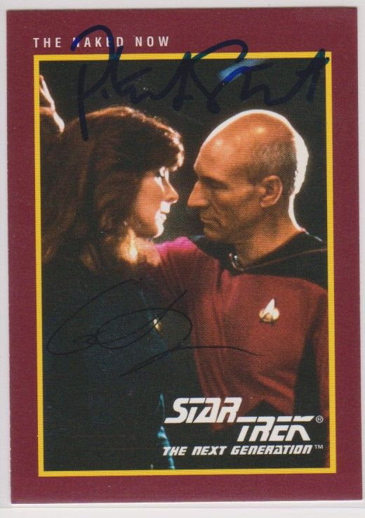 Patrick Stewart & Gates McFadden Signed Autographed 1991 Star Trek Trading Card - COA Matching Holograms