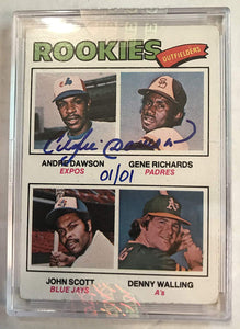 Andre Dawson Signed Autographed 1977 Topps Rookies Baseball Card - Topps Certified Auto #1/1
