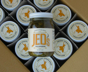 12 - 16 oz. jars of JED's Sweet-Cured Jalapeños