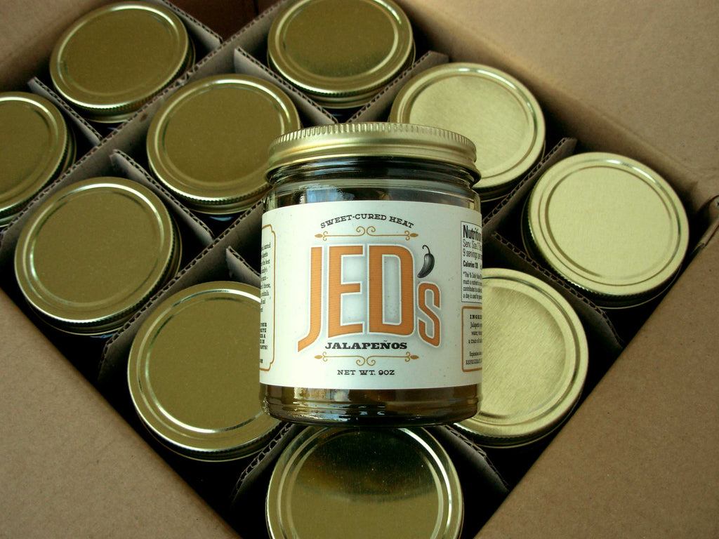 12 - 9 oz. Jars of JED's Sweet-Cured Jalapeños