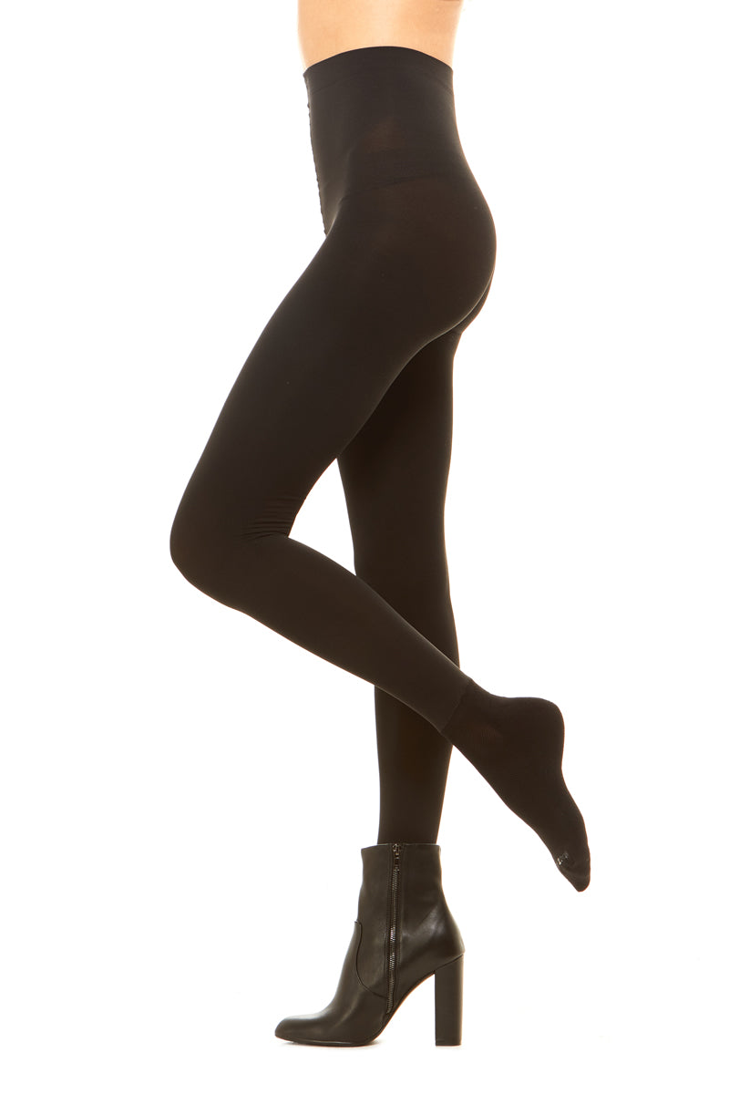 Premium opaque high waisted shaping tight with attached performance athletic sock and tummy control waistband
