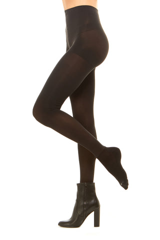 Premium semi opaque women's tights with attached performance athletic socks and tummy control waistband