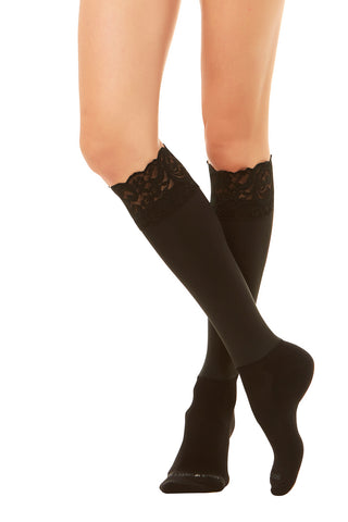 Sleek Compression sock design with lace cuff detail with attached performance athletic sock . Perfect for rainboots and cowboy boots.