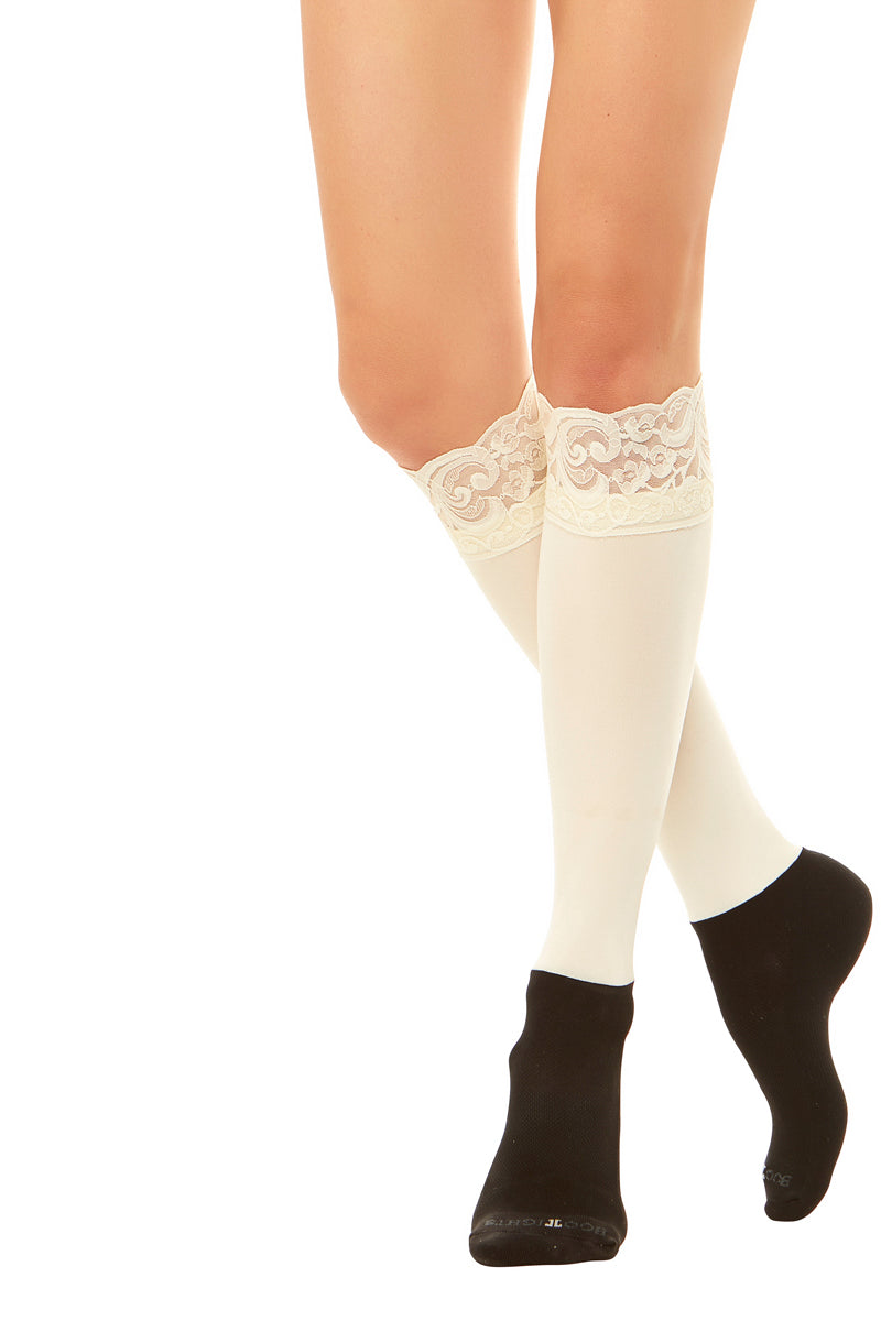 Sleek Compression sock design with lace cuff detail with attached performance athletic sock . Perfect for rain boots and cowboy boots.