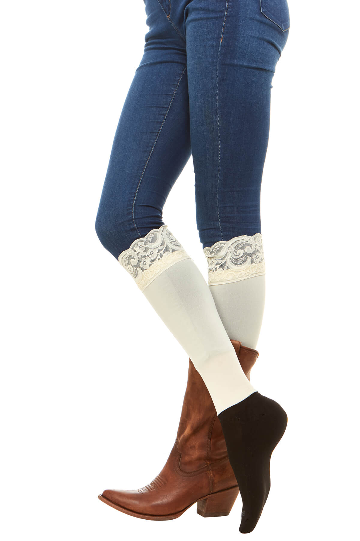 Sleek Compression sock design with lace cuff detail. Perfect for rainboots and cowboy boots.Sleek Compression sock design with lace cuff detail with attached performance athletic sock . Perfect for rain boots and cowboy boots.