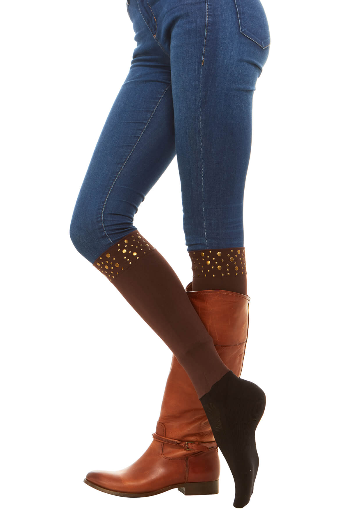 Sleek Compression sock design with nailhead trim detail with attached performance athletic sock Perfect for rainboots and cowboy boots.
