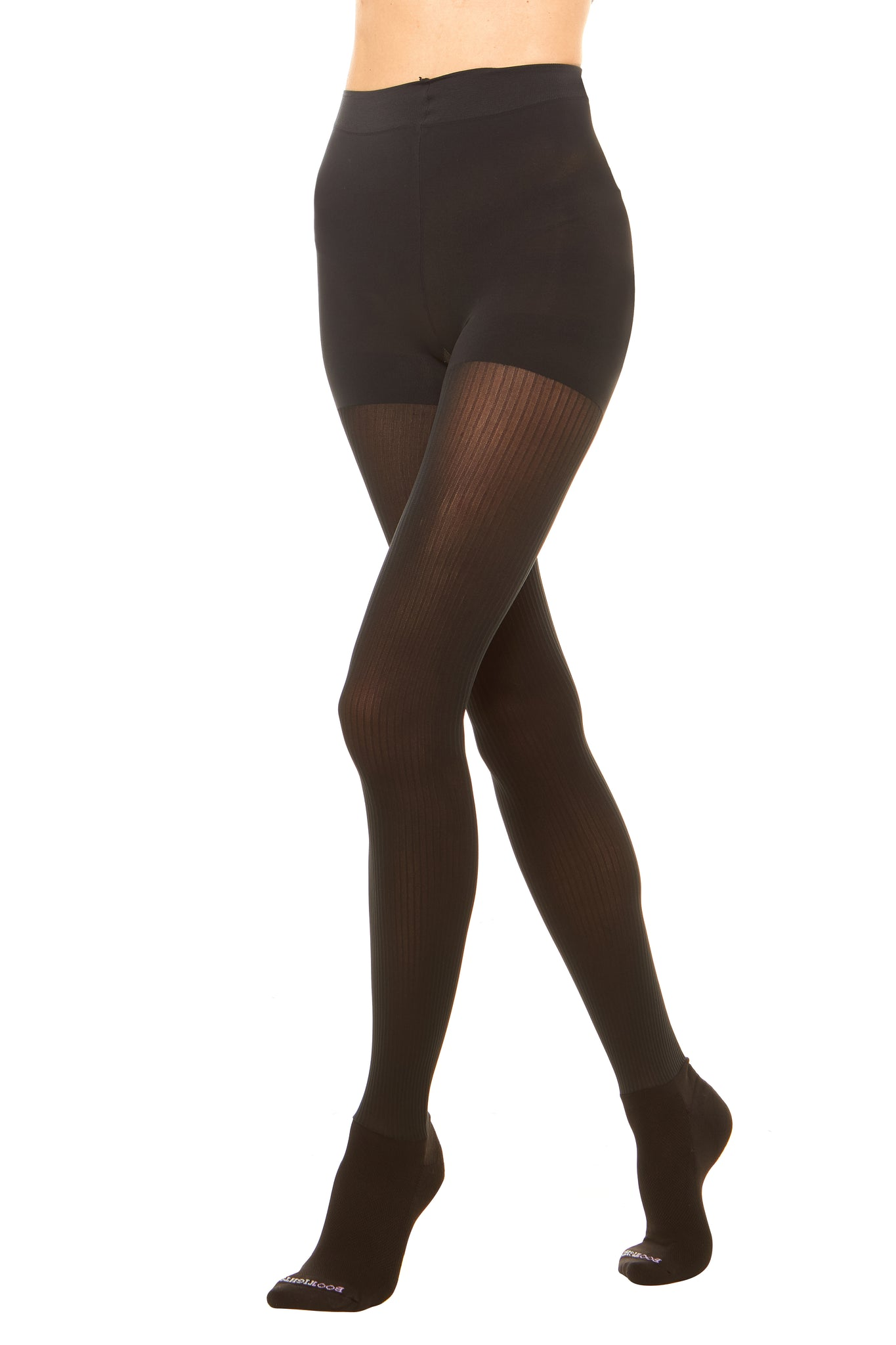 d7d675b18b2 Premium semi opaque women s tights in a sheer rib pattern with attached  performance athletic socks and