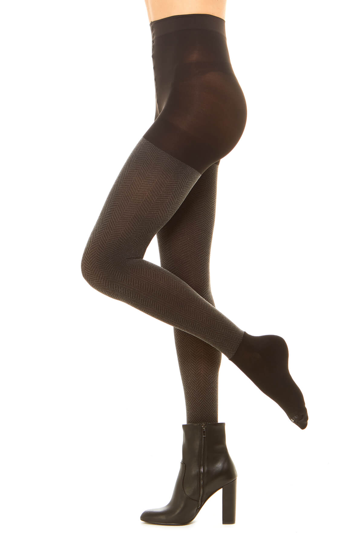 Premium semi opaque women's tights in a sheer rib pattern with attached performance athletic socks and tummy control waistband