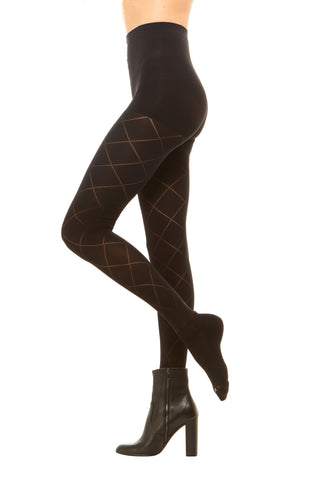 Premium semi opaque women's tights in a diamond pattern with attached performance athletic socks and tummy control waistband