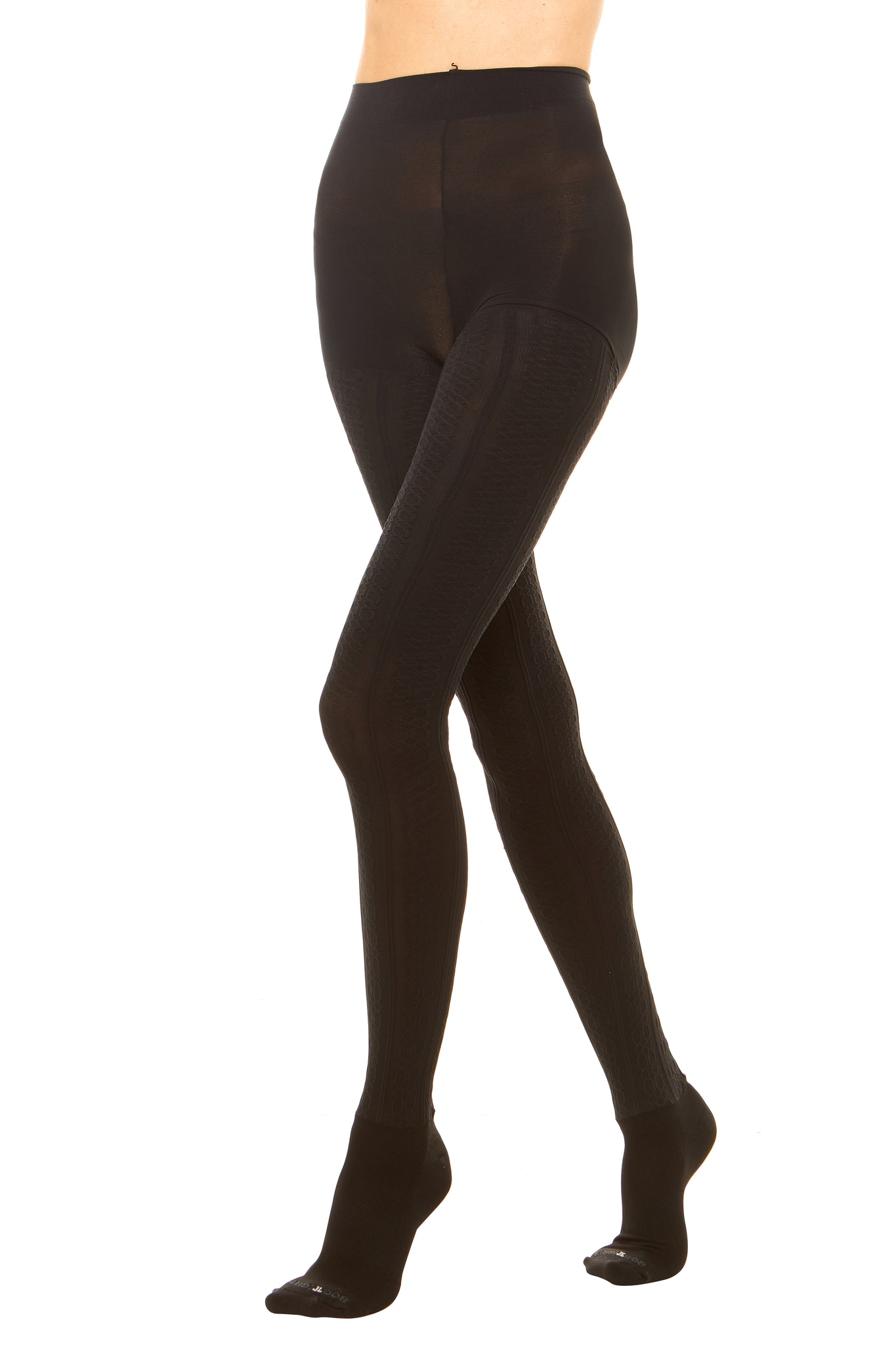 Premium semi opaque women's tights in a cable knit pattern with attached performance athletic socks and tummy control waistband