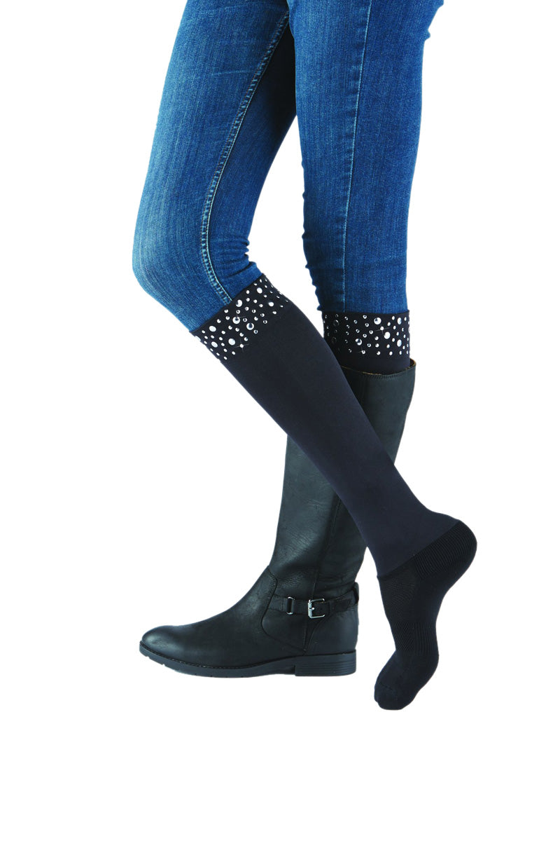 Sleek Compression sock design with nailhead trim detail with attached performance athletic sock Perfect for rain boots and cowboy boots.