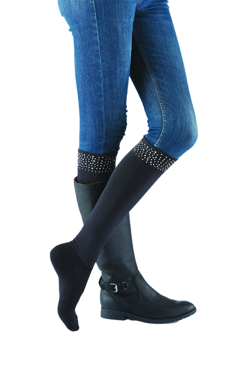 Sleek Compression sock design with rhinestone cuff detail with attached performance athletic sock. Perfect for rain boots and cowboy boots.