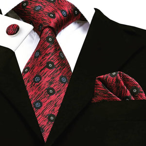 www.mensswaggerapparel.com Quick shipping low prices men's ties & bow ties Red Tie Handkerchief Cufflinks Set New Autumn Gravatas Mens Tie