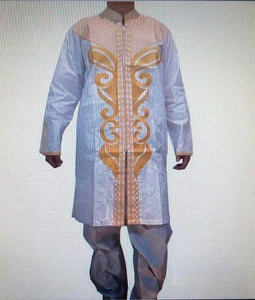 MSA Signature African Men's 3 PCs Embroidered Pant Suit Traditional Brocade Print Free Size