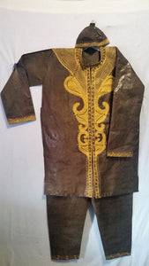 www.mensswaggerapparel.com Quick shipping low prices Traditional Attire African Men's 3 PCs Embroidered Pant Suit Traditional Brocade Print Free Size