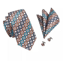 www.mensswaggerapparel.com Quick shipping low prices men's ties & bow ties Tie Brown Blue Geometric Silk Jacquard Neckties Hanky Cufflinks Set Business Wedding Party Ties