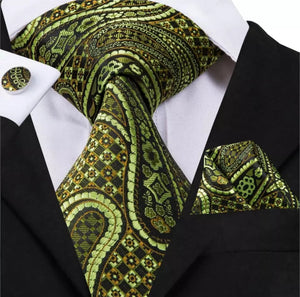 www.mensswaggerapparel.com Quick shipping low prices men's ties & bow ties Ties Green Silk Jacquard Classic Luxury Style Necktie Hanky Cufflinks Set For Business Party