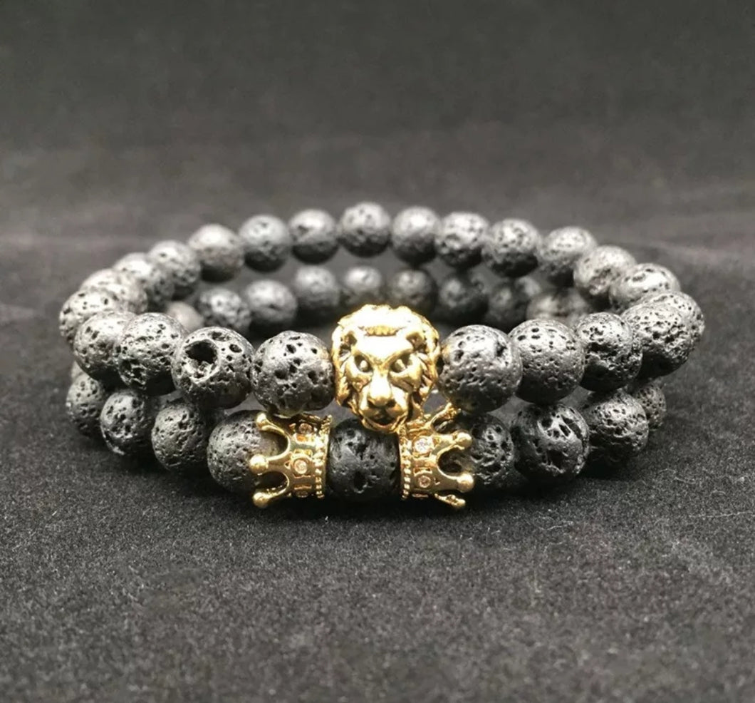 www.mensswaggerapparel.com Quick shipping low prices Men's Watches & Accessories Black Volcanic Lava Stone Beads Men Bracelets Charm Matte Black Stone Bracelets For Man 2PC Crown Lava Bracelet White Stone