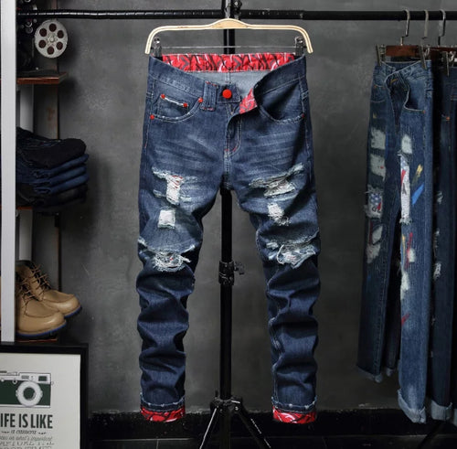 www.mensswaggerapparel.com Quick shipping low prices Men's Jeans & Pants Men Jeans Skinny Stretch Hole Retro Casual Spring Autumn Vintage Distressed Washed Slim Men Denim Straight Pants Pleated