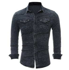 www.mensswaggerapparel.com Quick shipping low prices men's button-down shirts Denim Shirt Men Cotton Jeans Shirt Autumn Slim Long Sleeve