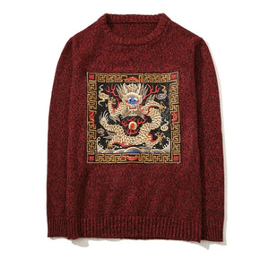 www.mensswaggerapparel.com Quick shipping low prices men's sweaters Dragon Embroidery Men Sweater Long Sleeve O-neck Knitted Pullovers Boys Plus Size 5XL Casual Mens Sweaters