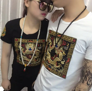 www.mensswaggerapparel.com Quick shipping low prices Traditional  Attire Chinese Wind embroidery shirt couple T-shirt Semi sleeve sleeveless shirt T-shirt Embroidered Dragon T-shirt