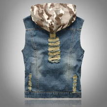 www.mensswaggerapparel.com Quick shipping low prices Mens T-Shirt & Hoodie Hooded Camouflage Denim Vest Men Camo