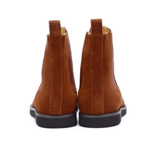 www.mensswaggerapparel.com Quick shipping low prices men's boots & dress shoes.Suede Round Toe Man Chelsea Riding Shoes British Designer Genuine Leather Handmade Ankle Boots