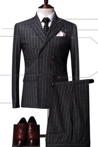 www.mensswaggerapparel.com Quick shipping low prices men's suits & suit jackets Slim Fit Suit Grey Striped Pant Jacket Vest 3pcs Set Gray