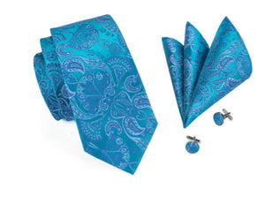 www.mensswaggerapperal.com Quick shipping low prices men's ties & bow ties Blue Paisley Three-Piece Ties Set