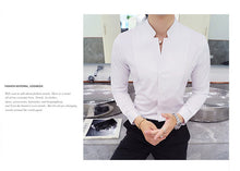 www.mensswaggerapparel.com Quick shipping low prices men's dress shirt Fall / Winter Stand Collar Men's Long-sleeved Dress Shirts Black Red White Slim Elegant