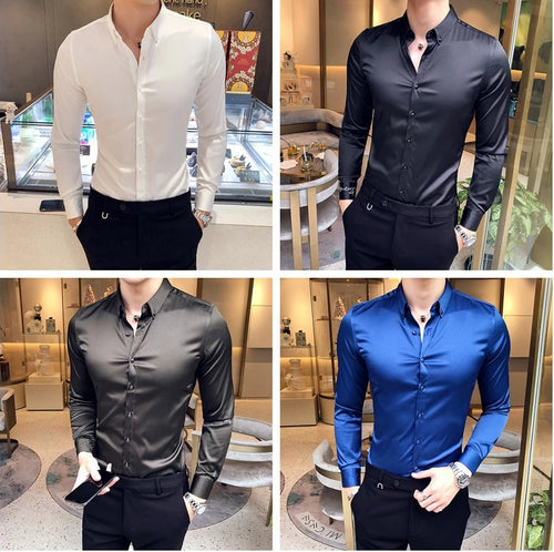 www.mensswaggerapparel.com Quick shipping low prices men's button-down shirts  Solid Long Sleeve Shirt men Satin cloth nightclub High-end
