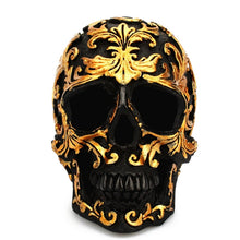 www.mensswaggerapparel.com Quick shipping low prices men's Gifts & Gadgets Resin Craft Black Skull Head Golden Carving Halloween Party Decoration Skull Sculpture Ornaments Home Decoration Accessories New