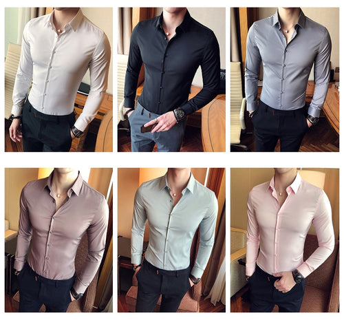 www.mensswaggerapparel.com Quick shipping low prices men's button-down shirts Men's Cotton Solid Formal Business Long-sleeved Shirts