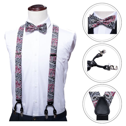 www.mensswaggerapparel.com Quick shipping low prices men's ties & bow ties Red Paisley Suspenders Shirt Black Bow Tie Hanky Set Woven Y-Back Silk Suspender No-slip Silver Clips Barry