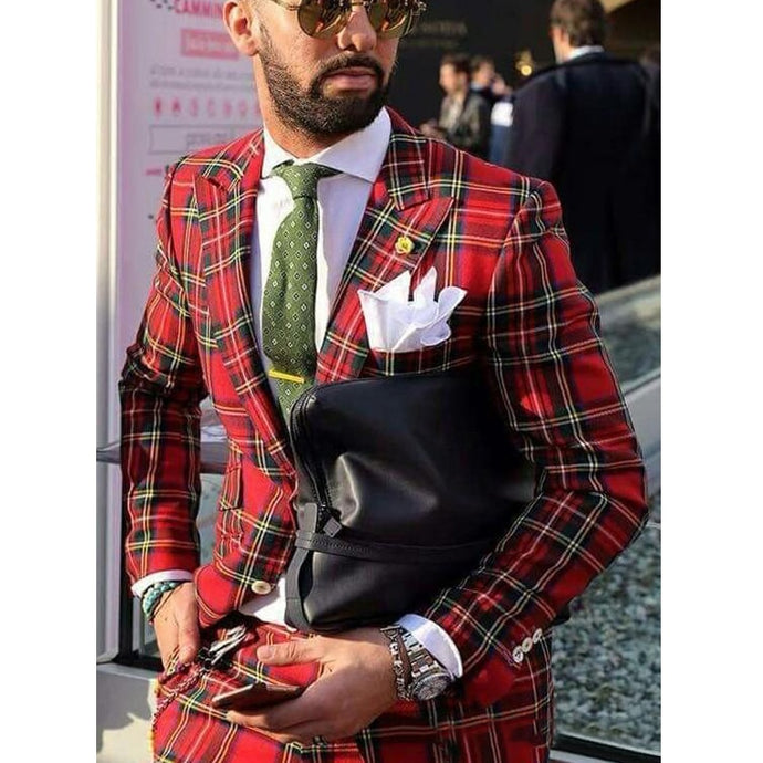 www.mensswaggerapparel.com Quick shipping low price men's vest suit & suit jackets.  Red Plaid Mens Suits  2 Pieces Custom Made Groom Suits Slim Fit Wedding Tuxedos Jacket+Pants