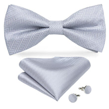 www.mensswaggerapparel.com Quick shipping low prices men's ties & bow ties Silver Solid Butterfly Silk Self Bowtie For Men Classic Wedding Bowtie Handkerchief Cufflink Set Neckwear Men Tie DiBanGu