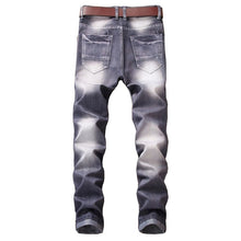 MSA Signature Casual Jeans Coated Slim Straight Pleated Biker Jeans Pants Male Denim Casual Pants Plus Size 42