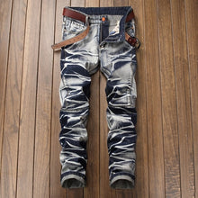 www.mensswaggerapparel.com Quick shipping low prices Men's Jeans & Pants Casual Jeans Coated Slim Straight Pleated Biker Jeans Pants Male Denim Casual Pants Plus Size 42