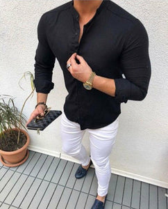 www.mensswaggerapparel.com Quick shipping low prices men's button-down shirts  Long Sleeve Shirts Casual Hit Color Slim Fit Black Man Dress Shirts