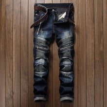 www.mensswaggerapparel.com Quick shipping low prices Men's Jeans & Pants Casual Jeans Coated Slim Straight Pleated Biker Jeans Pants Male Denim Casual Pants Plus Size 4