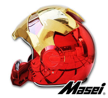 www.mensswaggerapparel.com Quick shipping low prices Biker Apparel & Accessories Masei electroplate Red golden iron man  helmet motorcycle helmet half helmet open face helmet casque motocross