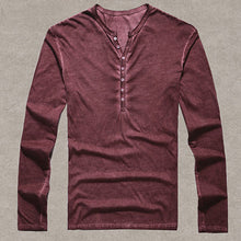 www.mensswaggerapparel.com Quick shipping low prices Mens T-Shirt & Hoodie Cotton Vintage Henry T-Shirts Casual Long Sleeve High-quality Men old color Cardigan T-shirt