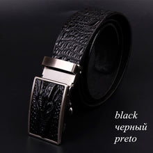 www.mensswaggerapparel.com Quick shipping low prices men's leather belts alligator pattern automatic buckle men's belt Black