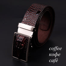 www.mensswaggerapparel.com Quick shipping low prices men's leather belts alligator pattern automatic buckle men's belt Coffee