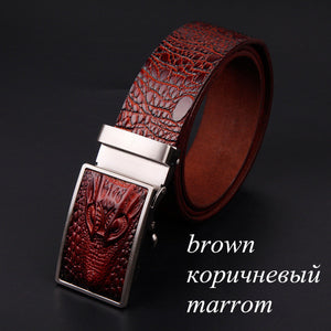 www.mensswaggerapparel.com Quick shipping low prices men's leather belts alligator pattern automatic buckle men's belt Brown