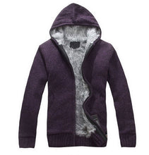 www.mensswaggerapparel.com Quick shipping low prices men's sweaters Autumn Thick Hooded Sweaters Cardigan Purple